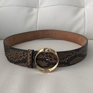 Fendi Skin Belt with Gold Round Buckle NEW